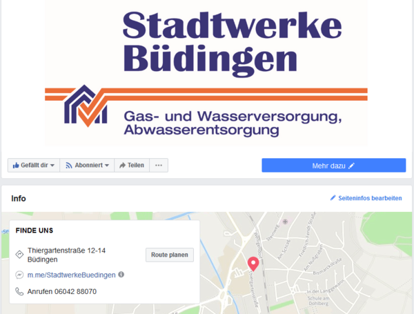 Screenshot Facebookseite Stadtwerke
